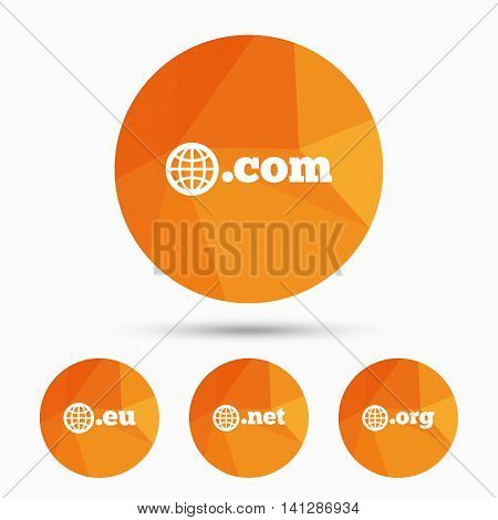 Top-level internet domain icons. Com, Eu, Net and Org symbols with globe. Unique DNS names. Triangular low poly buttons with shadow. Vector