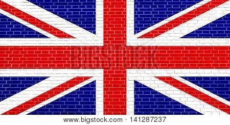 Flag of the United Kingdom on brick wall texture background. British national flag. Union Jack.