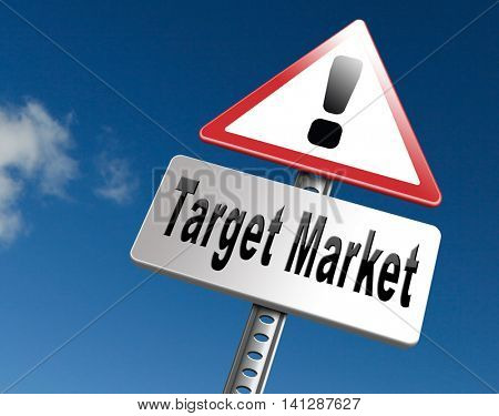 Target market business targeting for niche marketing strategy, road sign billboard. 3D illustration