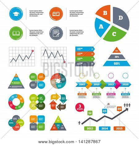Data pie chart and graphs. Pencil with document and open book icons. Graduation cap symbol. Higher education learn signs. Presentations diagrams. Vector