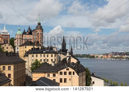 Buildings surround the waters of Stockholm, Sweden