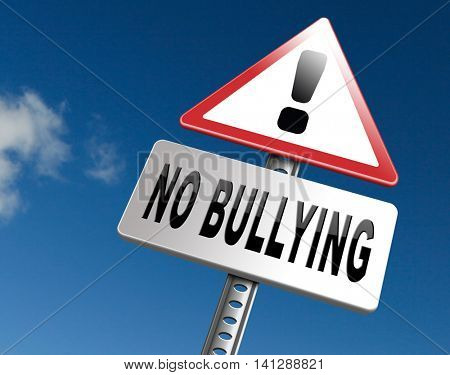 Stop bullying at school or at work stopping an online internet bully 3D illustration