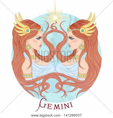 Zodiac. Vector illustration of the astrological sign of Gemini as a beautiful girl with long hair. Round shape