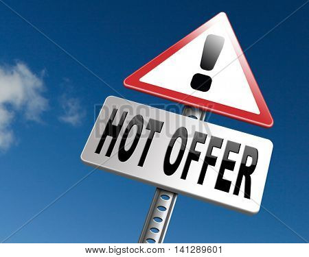 hot offer for online internet web shop concept. Webshop shopping sales sign announcing bargain for low and best price with the best value for you money.  3D illustration
