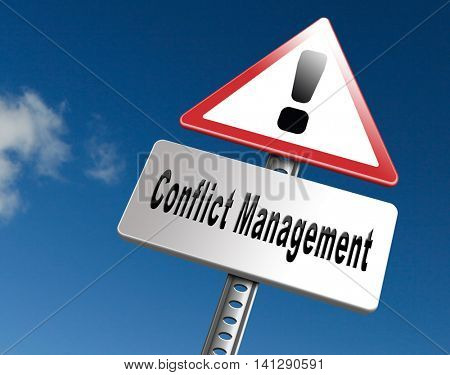 Conflict management, conflicts in business at work or between couple with different interest solve the problem and find resolution, road sign billboard. 3D illustration