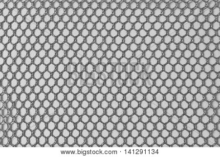 The nylon net texture background in back and white scene with the white background.The back and white texture of knitting net.