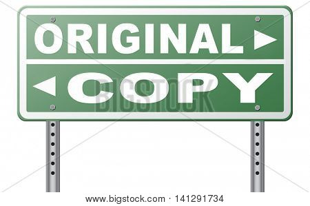 original idea or copycat cheap and bad copy or unique top quality product guaranteed road sign  3D illustration