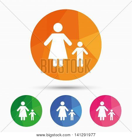 One-parent family with one child sign icon. Mother with son symbol. Triangular low poly button with flat icon. Vector