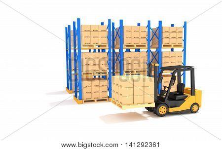 Forklift with Pallet rack on white backgrond.3D Illustration