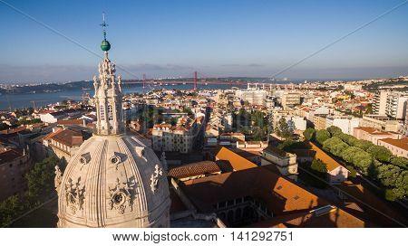 main facade of the Estrela Basilica in Lisbon at morning