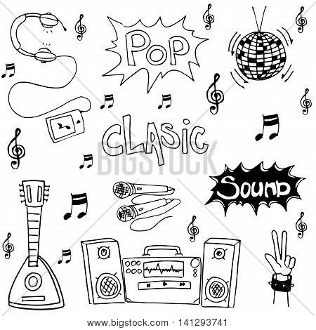 Music pack doodles collection stock hand draw