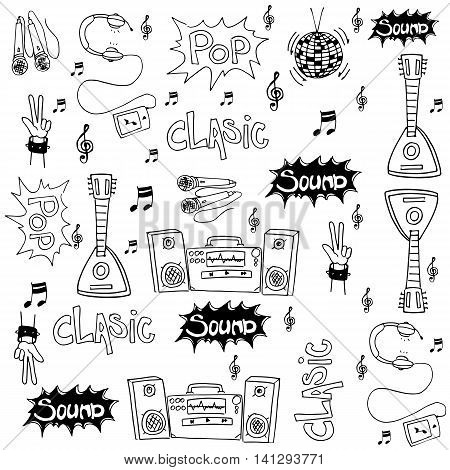 Music set doodles on white backgrounds collection stock
