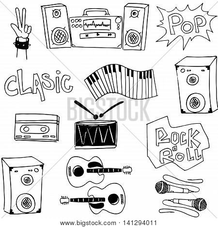 Music set tools doodles collection stock vector illustration
