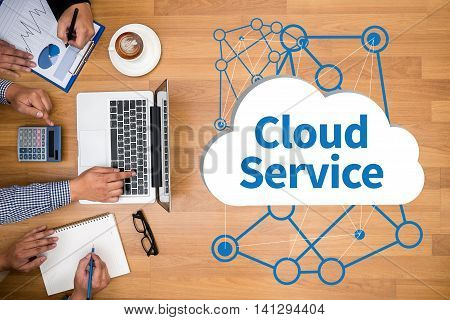 Cloud Service (cloud Computing Diagram On The New Computer Interface)