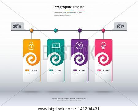 Timeline Infographic Template. Label Design For Presentation. Vector Stock.