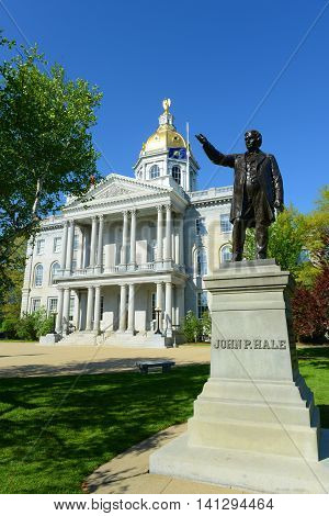 New Hampshire State House, Concord, New Hampshire, USA. New Hampshire State House is the nations oldest state house, built in 1816 - 1819.