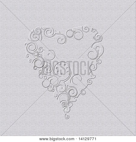 Graphic design heart on gray