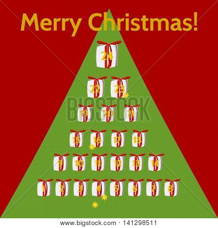 December calendar for advent. Small gifts, with red ribbon, numbered days 1 to 24, arranged in pyramid.On red background green tree silhouette. Inscription Merry Christmas.