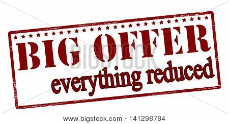 Rubber stamp with text big offer inside vector illustration