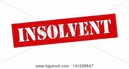 Rubber stamp with word insolvent inside vector illustration