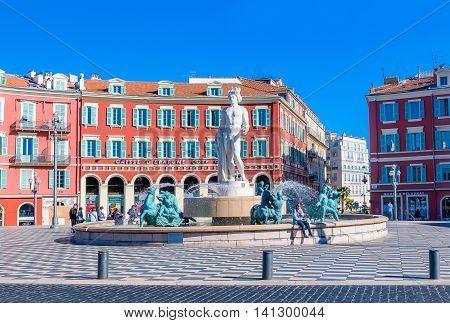 Fountain Du Soleil On Place Massena In Nice France