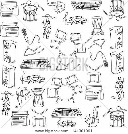 Doodle vector art music set collection stock