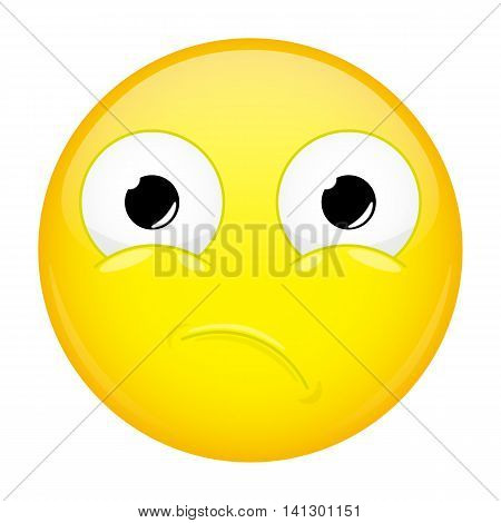 Unpleasantly surprised emoji. Sorrow emotion. Hurt emoticon. Vector illustration smile icon.