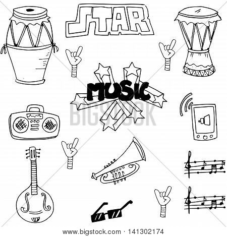 Music set hand draw in doodle stock vector