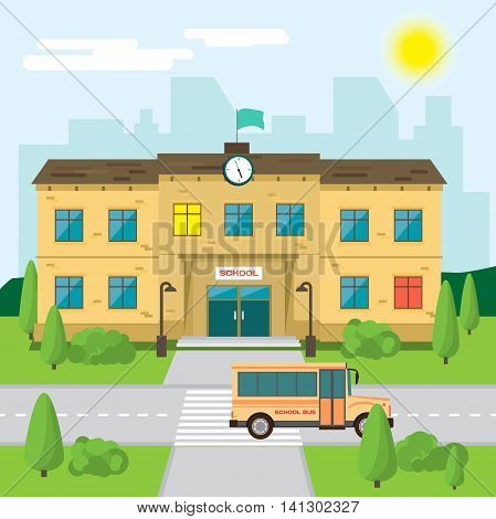 Welcome back to school. Building in park on the background of the city. Flat cartoon style vector illustration