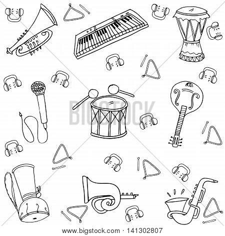 Hand draw set music doodles stock vector illustration