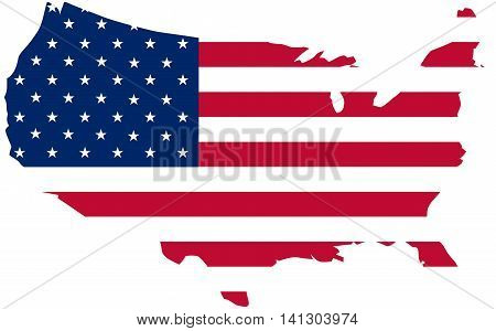 flag of the United States of America on a map isolated