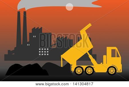 Dump truck on industrial background, vector illustration