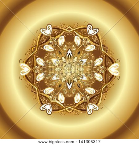 Vector pattern with floral elements. Abstract golden ornament