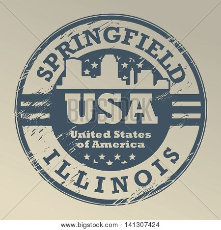 Grunge rubber stamp with name of Illinois, Springfield, vector illustration