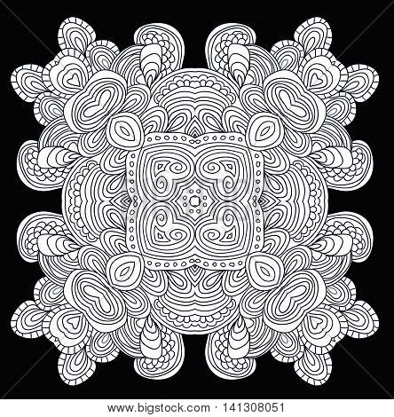 Zendala. Hand drawn doodle pattern with floral motif. Uncolored tracery. Can be used as adult coloring book.