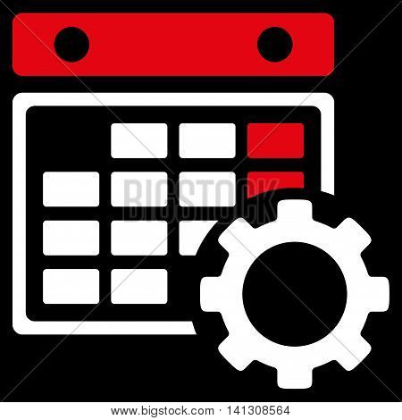 Syllabus Configuration vector icon. Style is bicolor flat symbol, red and white colors, rounded angles, black background.