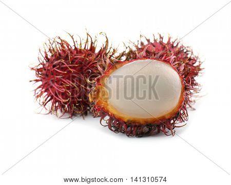 Exotic fruits rambutans isolated on white