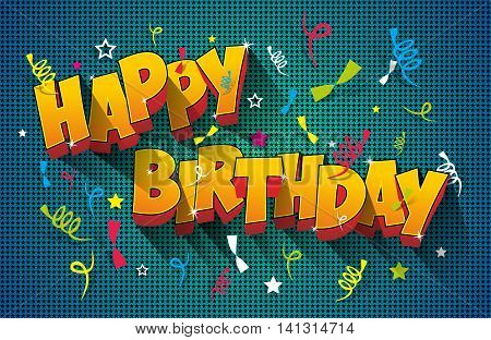 Happy Birthday Greeting Card On Colorful Background Vector Illustration