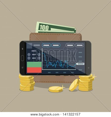 Smart-phone with trading application, wallet with dollar cash and stacks of gold coins. mobile internet stocks trading. vector illustration in flat style on brown background