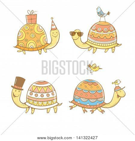 Cartoon turtles set. Four cute tortoises. Funny animals. Party hat, roller skates and sunglasses. Little birds. Vector contour image. Colorful reptiles.