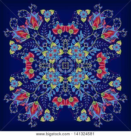 Design for square pocket, shawl, textile, pillow. Vector floral pattern. Bright colorful ornament on blue background. Batik