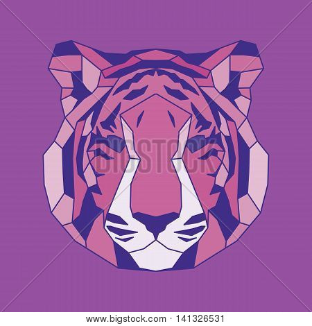 Pink lined low poly tiger. Vice geometric art