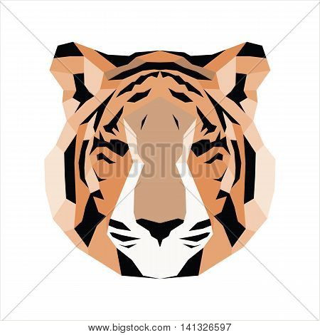 Orange low poly tiger. Vice geometric art