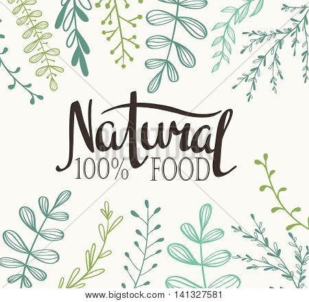 Eco Card with plants and lettering Natural food 100%. All objects isolated. Vector.