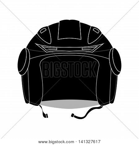 Black outlined helmet vector illustration. Open face helmet icon. Flat style monochrome vector illustration. Personal safety equipment for motorcycle driver on road. Lifeguard gear for racer.
