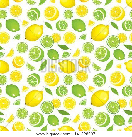 Seamless pattern of citrus fruits - lemon and lime with leaves, whole products and slices on white background. Vector illustration in color. Cover for design.