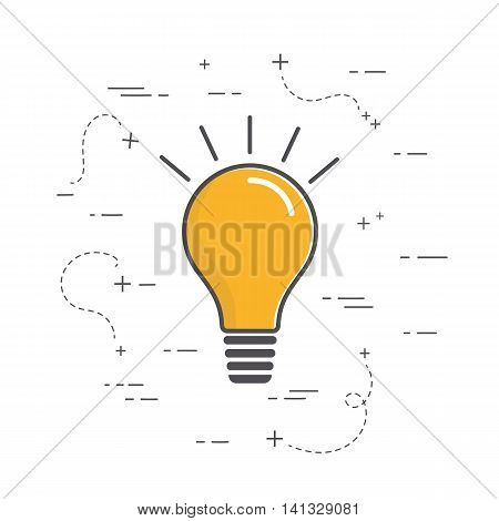 Vector bulb icon. These are iconic representations of creativity, ideas, inspiration, intelligence and learning. Line art style