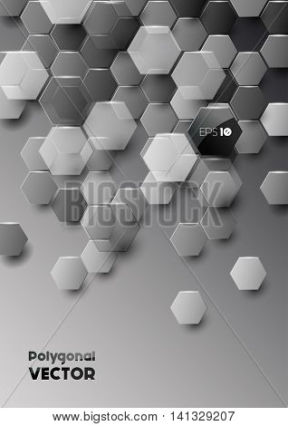 Vector modern hexagonal background in black and grey, geometric composition with overlapping polygons