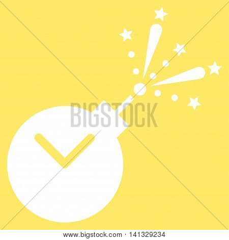 Time Fireworks Charge vector icon. Style is flat symbol, white color, rounded angles, yellow background.