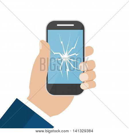 Hand Holding Broken Screen Phone. Vector illustration in flat design